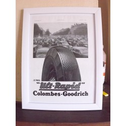 Affiche Pub Papier Pneux Colombes-Goodrich 1938