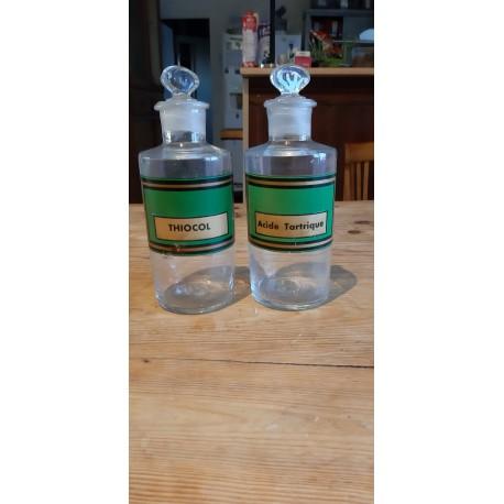 2 Pots a Pharmacie Anciens en Verre Transparent