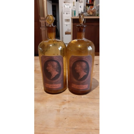 Paire de Flacons de Pharmacie en verre marron 19 ème