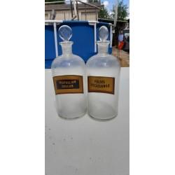 Paire de Flacons de Pharmacie en verre Transparent