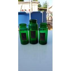 3 Pots a Pharmacie en verre vert