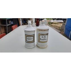 2 Pots a Pharmacie en Porcelaine